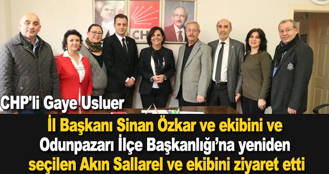 CHP'li Gaye Usluer:İl Başkanı Sinan Özkar ve ekibini ve Odunpazarı İlçe Başkanlığı'na yeniden seçilen Akın Sallarel ve ekibini ziyaret etti