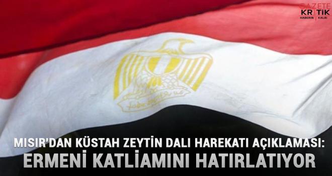 Mısır'dan küstah Zeytin Dalı harekatı açıklaması: Ermeni katliamını hatırlatıyor
