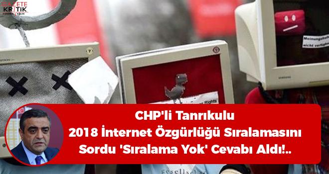 CHP'li Tanrıkulu 2018 İnternet Özgürlüğü Sıralamasını Sordu 'Sıralama Yok' Cevabı Aldı!..