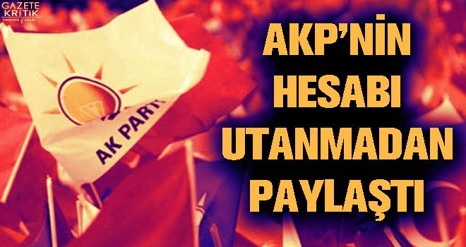 AKP'nin hesabı utanmadan paylaştı
