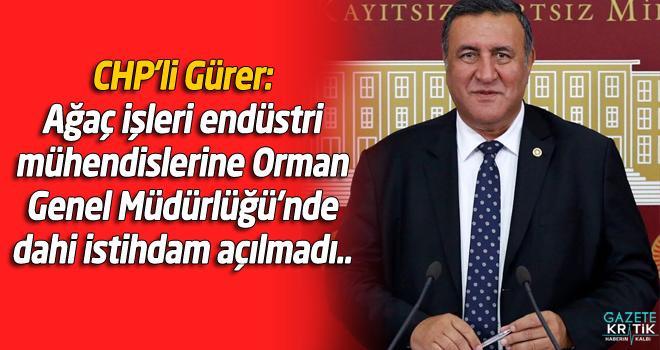 CHP'li Gürer: Ağaç işleri endüstri mühendislerine Orman Genel Müdürlüğü'nde dahi istihdam açılmadı..