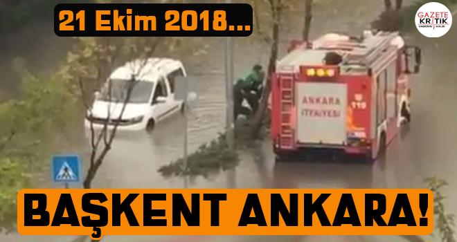 Ankara'da su basan yolda araçta mahsur kalan vatandaşları itfaiye kurtardı