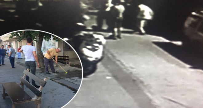 Bankta oturan kadının vurulma anı kamerada