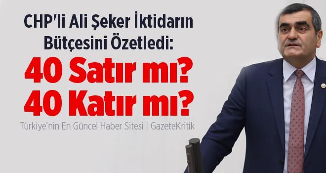 CHP'li Ali Şeker İktidarın Bütçesini Özetledi: 40 Satır mı? 40 Katır mı?