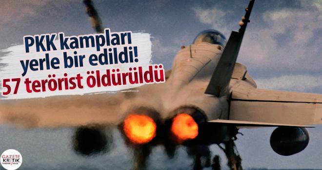 PKK kampları yerle bir edildi! 57 terörist öldürüldü