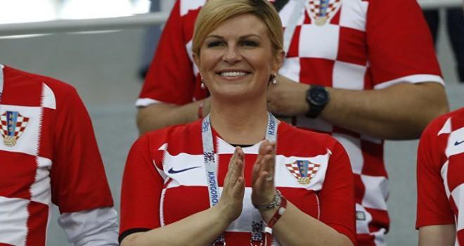 Fransa Hırvatisan Davis Cup maçında Cumhurbaşkanı Kolinda Grabar Kitaroviç tribünden izledi
