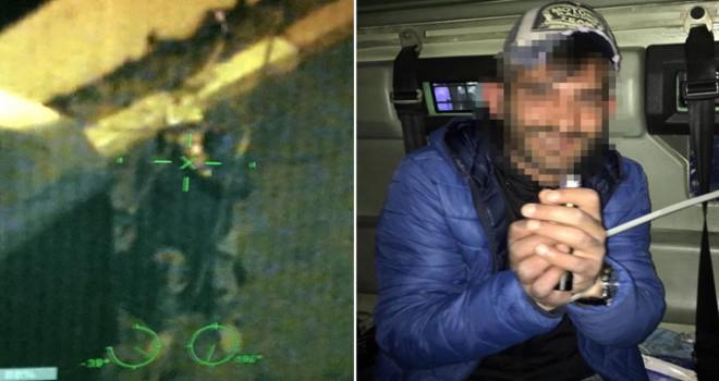 Polis helikopterine lazer tutan suç makinesi yakalandı