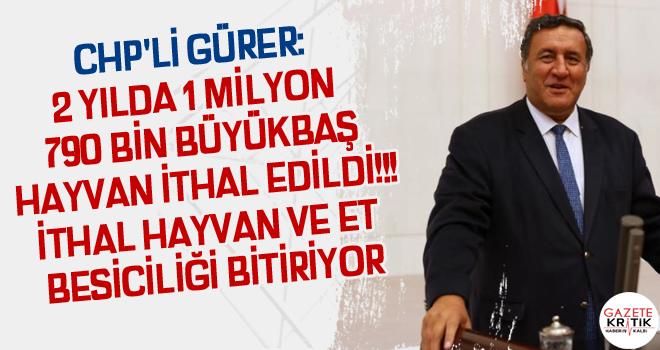 CHP'Lİ GÜRER: 2 YILDA 1 MİLYON 790 BİN BÜYÜKBAŞ...