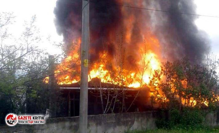 Bağ evi, alev alev yandı