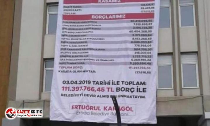MHP'li Başkan AKP'li selefinden kalan borçları belediye binasına astı