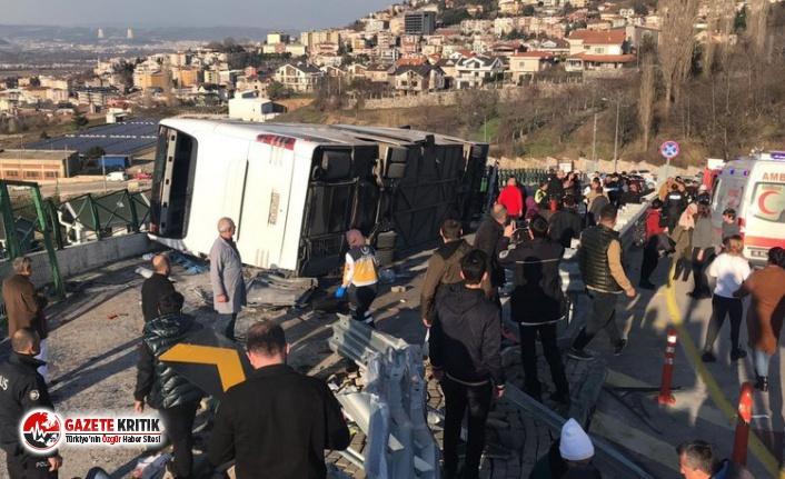Öğrencileri taşıyan tur otobüsü devrildi: Yaralılar...