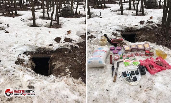 PKK'lı teröristlerin kullandığı sığınakta...