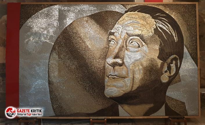 250 bin vida ile yapılan Atatürk portresi, Dünya rekorlar kitabına girmeyi bekliyor