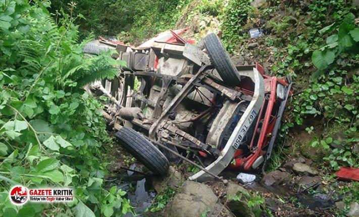 Dereye uçan kamyonetin sürücüsü öldü