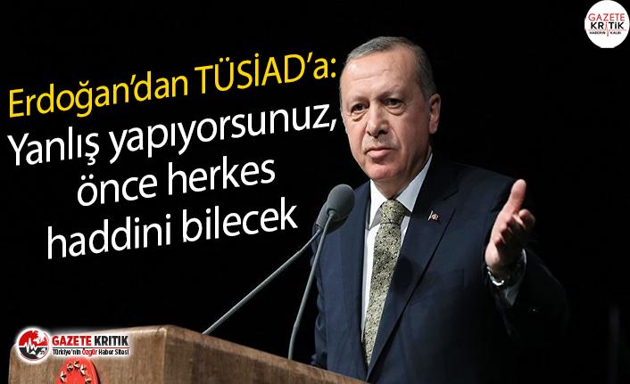Erdoğan'dan TüSİAD'a:Yanlış yapıyorsunuz,...