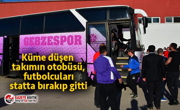 Küme düşen takımın otobüsü, futbolcuları statta...