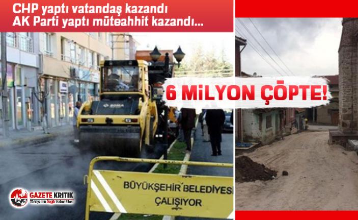 AK Partili Belediye 6 milyonluk asfaltı söküp yeniden...