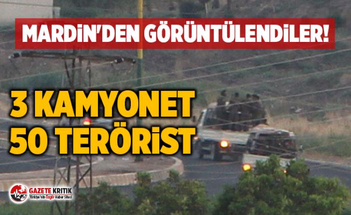 3 kamyonet, 50 terörist... Mardin'den görüntülendiler!