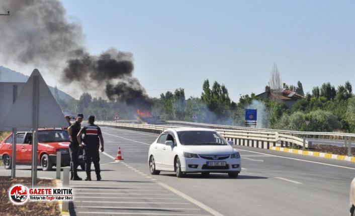Konya'da mühimmat taşıyan kamyonda yangın