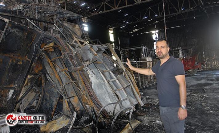 Parke taşı fabrikasında yangın