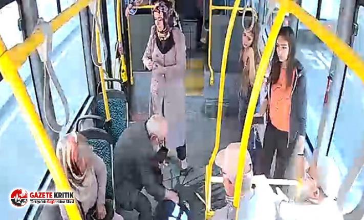 Halk otobüsünde bayılan kadını şoför hastaneye...