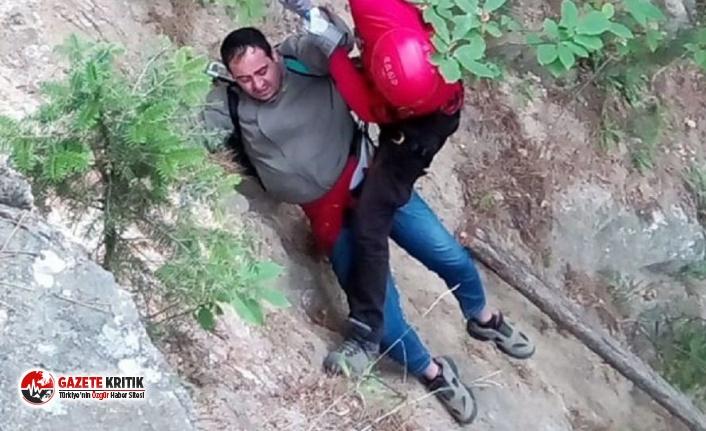 Tansiyonu yükselince Uludağ'da mahsur kalan kişi jandarma tarafından kurtarıldı