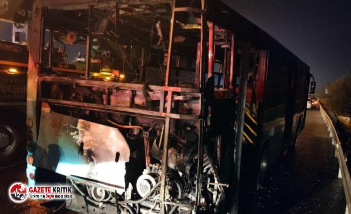 Ümraniye'de otobüste yangın