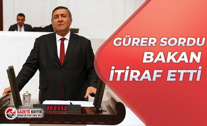 CHP'Lİ GÜRER SORDU, BAKAN İTİRAF ETTİ