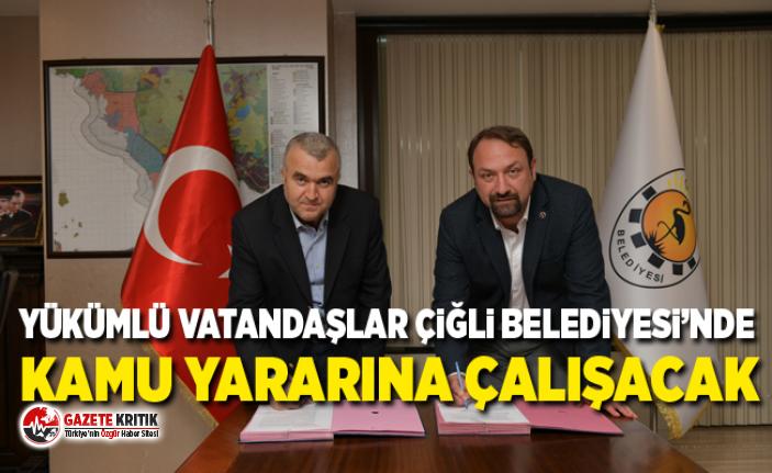 Yükümlü vatandaşlar Çiğli Belediyesi'nde kamu...