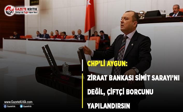 CHP'li Aygun: Ziraat Bankası Simit Sarayı'nı Değil, Çiftçi Borcunu Yapılandırsın