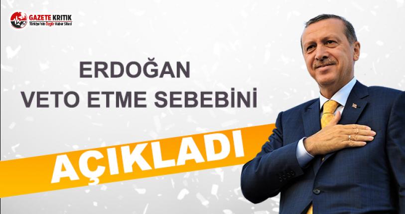 Erdoğan Veto Etme Sebebini Açıkladı