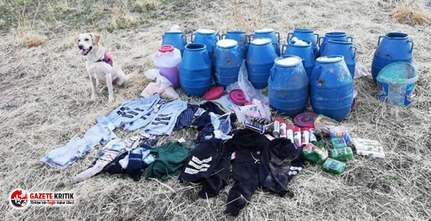 Bitlis'te PKK'lılara ait yaşam malzemeleri bulundu