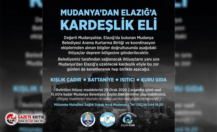 Mudanya'dan Elazığ'a yardım eli