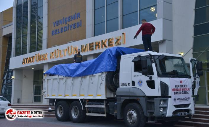 Yenişehir Belediyesi'nin yardımları deprem bölgesine ulaştı