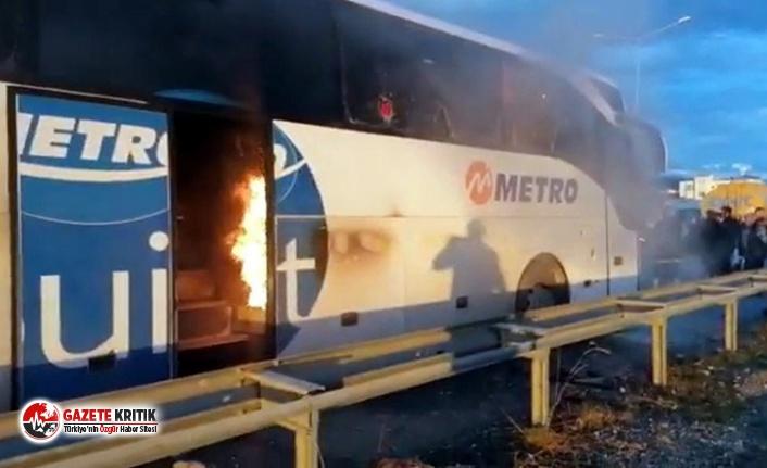 Yolcu otobüsü alev alev yandı !