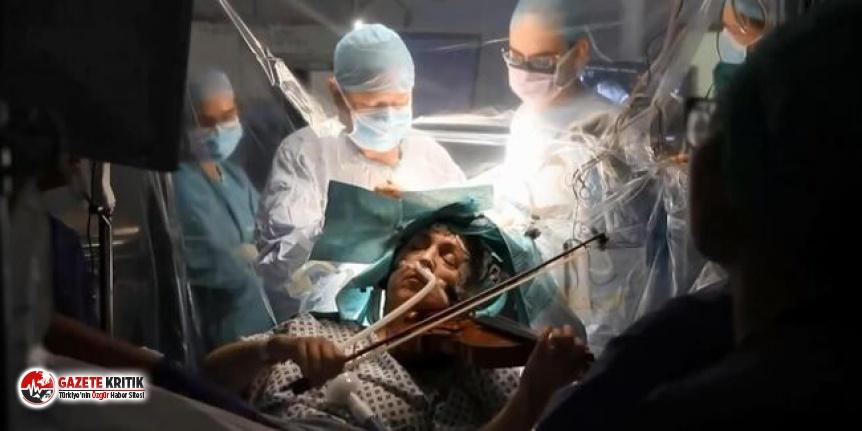 Dünya bu anları konuşuyor: Beyin ameliyatı olurken keman çaldı