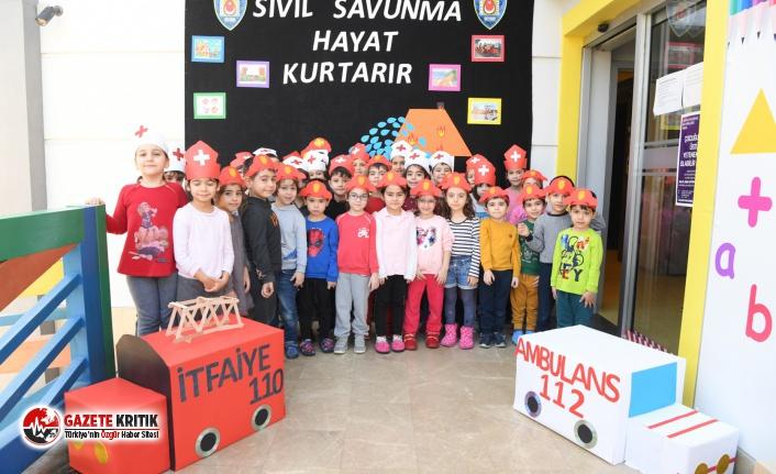 Konyaaltı Belediyesi Kreşlerinde sivil savunma eğitimi