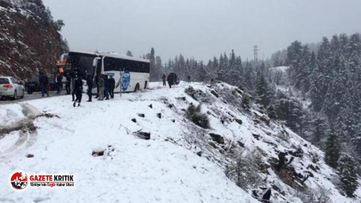 Metro Turizm'e ait otobüs uçuruma metreler kala durdu!