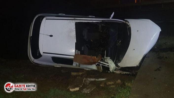 Tekirdağ'da su kanalına devrilen otomobildeki 2 kişi öldü