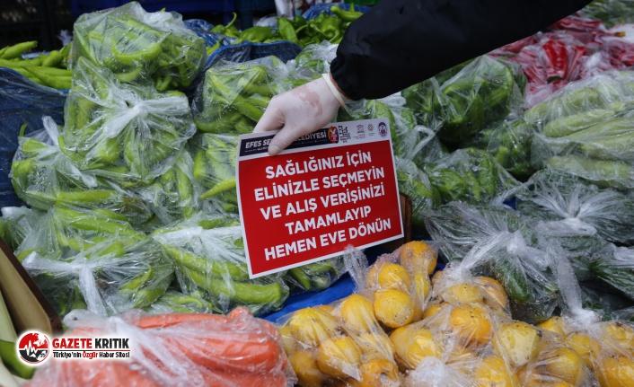 Efes Selçuk halk pazarında sıkı önlemler alınıyor