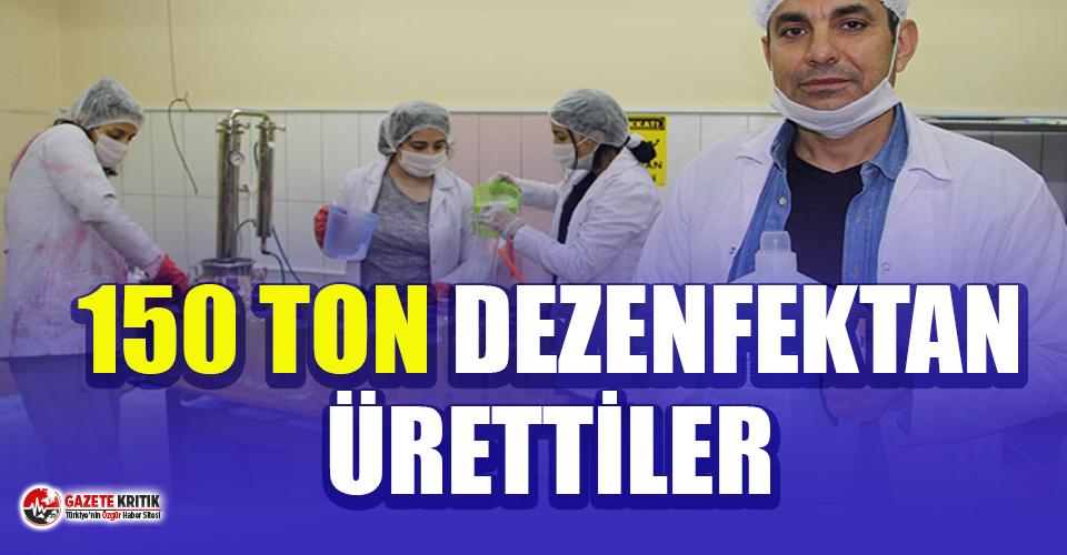 Lise öğrencileri 1 haftada 150 ton dezenfektan üretti