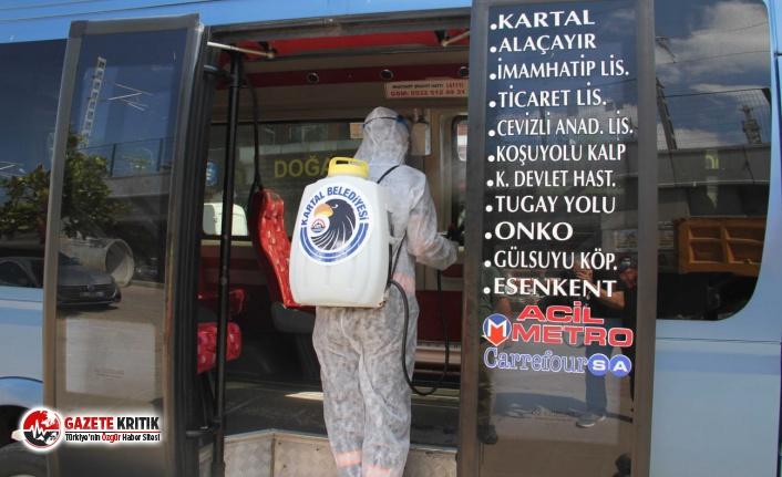 Kartal Belediyesi'nden Minibüslere Dezenfekte Hizmeti