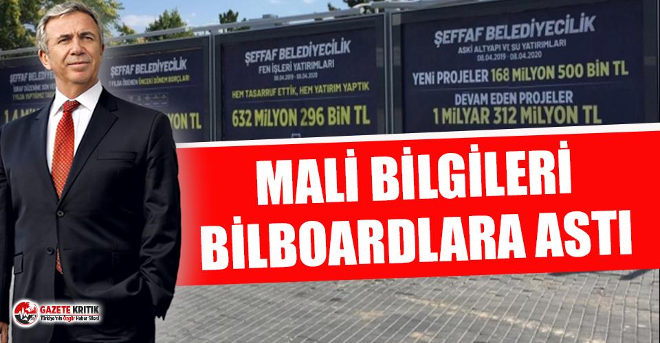 Mansur Yavaş mali bilgileri bilboardlara astı