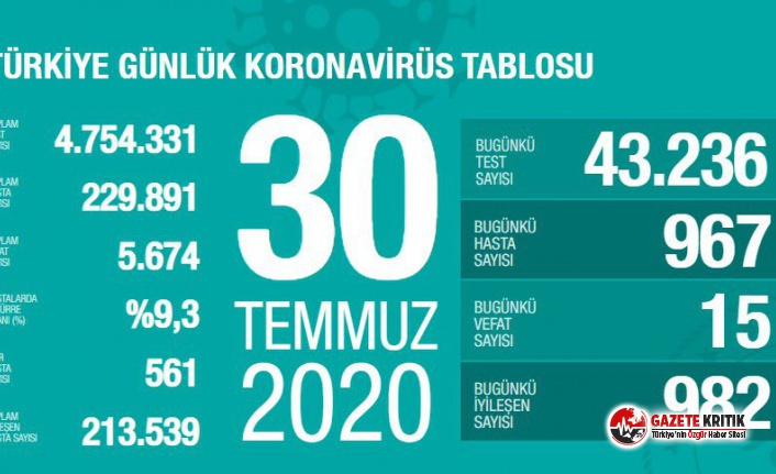 Sağlık Bakanı Fahrettin Koca 30 Temmuz koronavirüs...