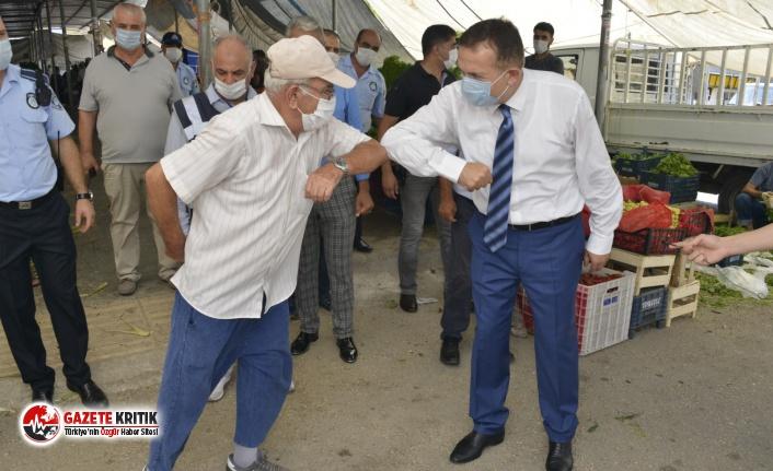 Başkan Özyiğit'ten semt pazarında 'Koronavirüs'...