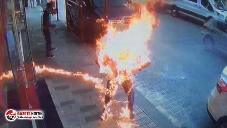 Beyoğlu'nda dehşet! Kardeşinin üzerine tiner dökerek yaktı
