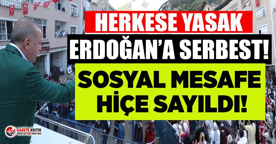 Erdoğan'ın Giresun mitinginde sosyal mesafe hiçe sayıldı!