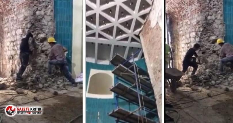 Galata Kulesi'nde hilti ile yıkımın sorumlusu AKP'li eski yönetici çıktı