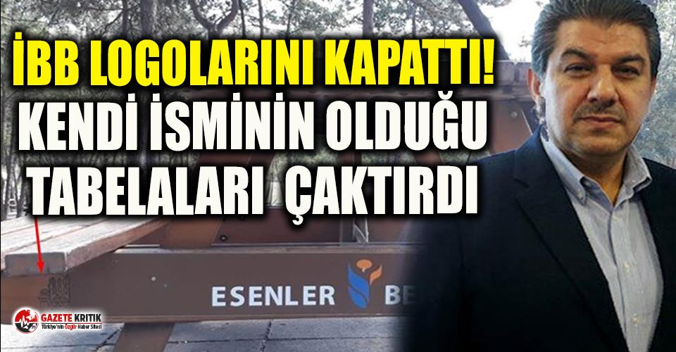 Tevfik Göksu piknik masalarındaki 'İstanbul Büyükşehir Belediyesi' yazısını sansürledi