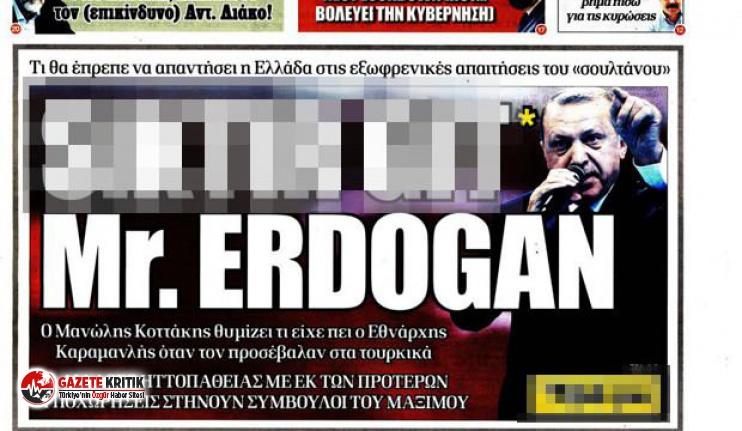 Cumhurbaşkanı Erdoğan'a manşetten hakaret eden Yunan Dimokratia gazetesine sert tepki